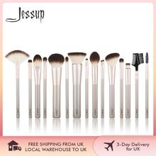 Jessup 15 pièces Champagne or pinceaux de maquillage outils de beauté professionnel maquillage poudre fond de teint fard à paupières maquillage brosse