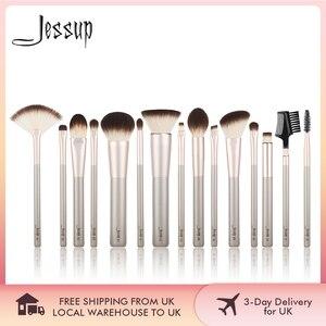 Image 1 - Jessup 15 шт., цвета шампанского, Золотые кисти для макияжа, косметические инструменты, профессиональный макияж, пудра, основа для макияжа, тени для век, Кисть для макияжа