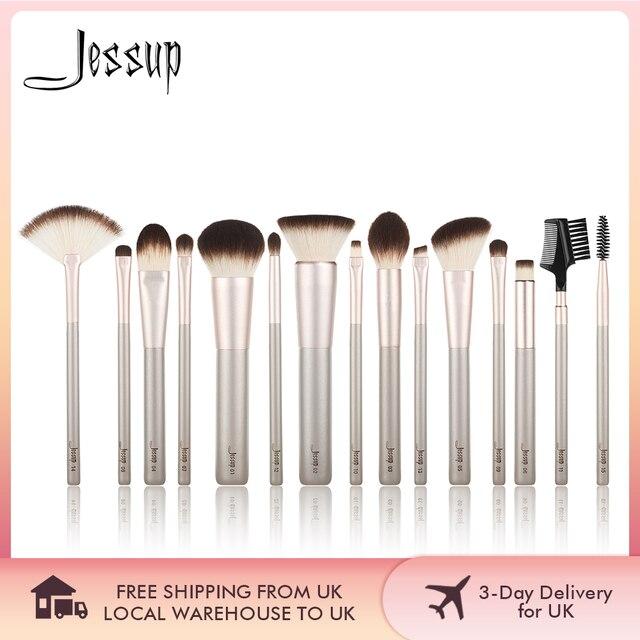 Jessup 15 шт., цвета шампанского, Золотые кисти для макияжа, косметические инструменты, профессиональный макияж, пудра, основа для макияжа, тени для век, Кисть для макияжа