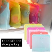 Многоразовые Еда сумка Герметичный силиконовый контейнеры для хранения Еда упаковывая мешок с молнией яркого цвета холодильник пакеты для сохранения свежести продуктов для фруктов, овощей, керамика, закуски