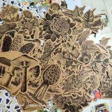 45 шт винтажные наклейки из крафт бумаги цветы грибы деко дневник