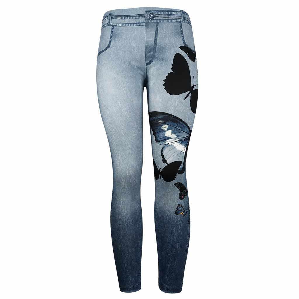 女性デニム長ズボン新プラスサイズ蝶プリンズボン四季ファッションカジュアルコンフォート Pantalones # A