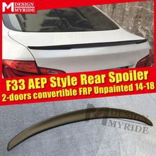 For BMW F33 Spoiler FRP Tail Wing Unpainted 4-Series 420i 428i 430i 2-Door Convertible AEP Style Black 2014-2018