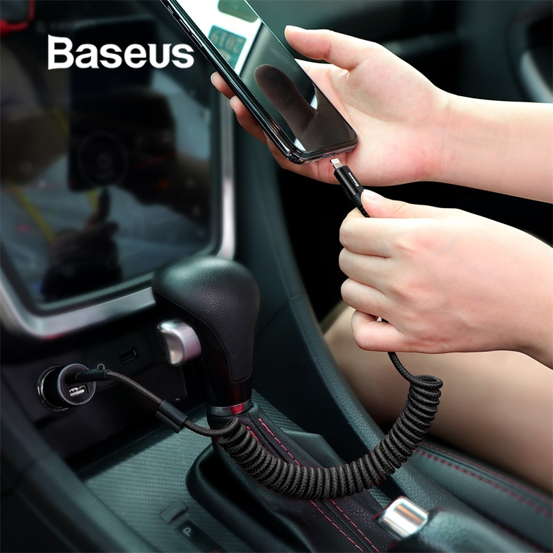 Baseus Spring USB Cable for iPhone Charger Fast Charging Data Cable USB for Car Styling Storage Wire for iPhone X 8 7 6 6s Plus-in Mobile Phone Cables from Cellphones & Telecommunications on AliExpress