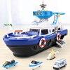 Blue ship with 4 car