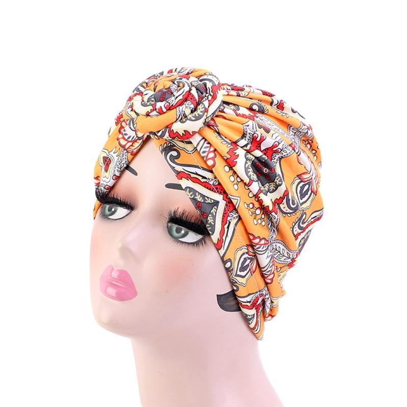 Image 5 - New Women african pattern Knotted flower Turban Muslim Turban  Twist Knot India Hat Ladies Chemo Cap Bandanas Hair AccessoriesWomens  Hair Accessories