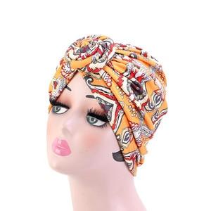 Image 5 - New Women african pattern Knotted flower Turban Muslim Turban Twist Knot India Hat Ladies Chemo Cap Bandanas Hair Accessories