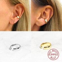 Boako 925 prata esterlina orelha manguito na moda brilhante não piercing clipe brinco para as mulheres acessórios diários jóias finas earcuff w4