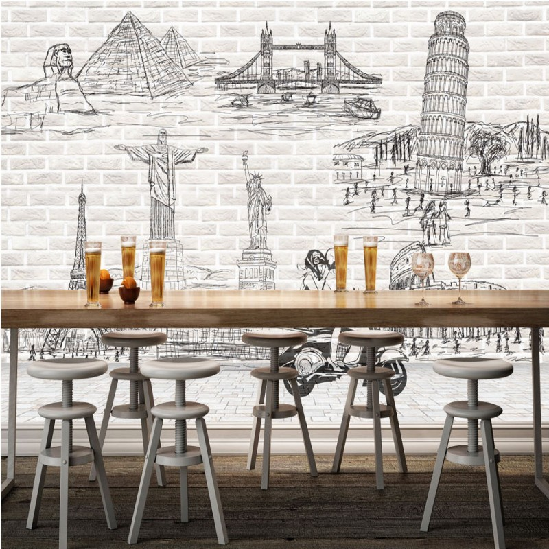 Drop Shipping 3D Photo Wallpaper Retro Sketch Wall Tiles World Name Architectural Background Wall Wallpaper Stereo Custom Mural