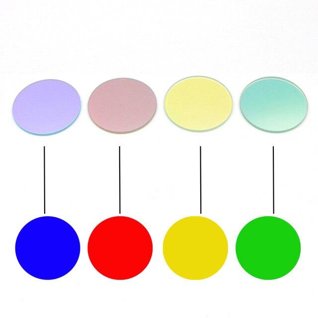 2 ADET 41.8mm x 2mm Beyaz Yeşil Sarı Kırmızı Mavi renk kaplı Cam Lens filtre Q5 L2 t6 XPL LED C8 C10 C12 El Feneri