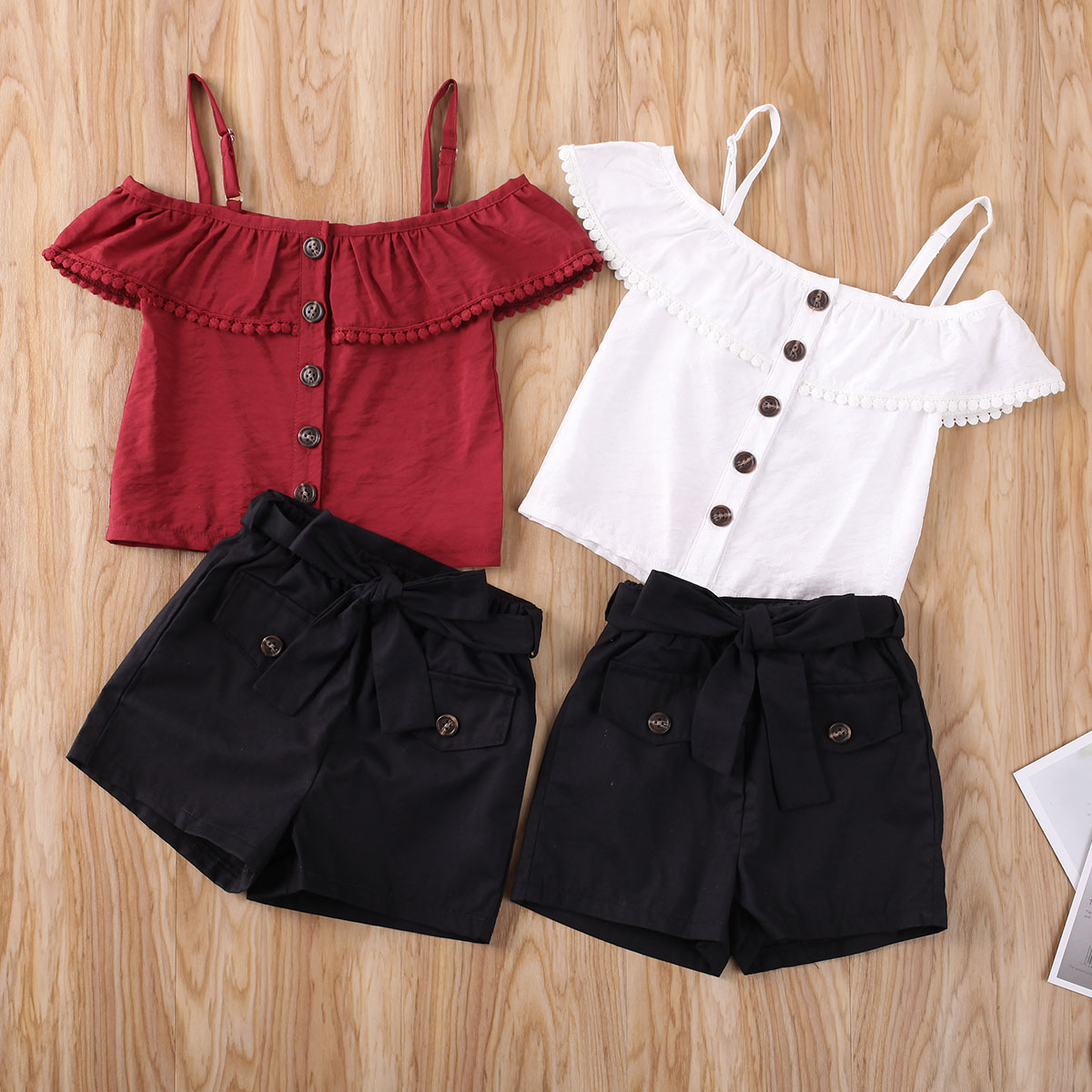 Kids Girls Summer Clothes Set  Toddler Kid Infant Girl Strap Shirt Top+Skirts Lovely Casual Outfits Kids Girl Clothing Sets 1-5T