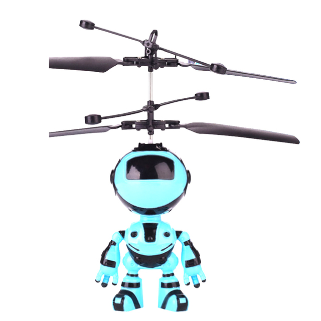 Robot Design Outdoor Mini Quadcopter Hand Control Flying Toys Drone Kids RC Helicopter Infrared Induction Gift With LED Light