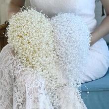 Bride Bouquet Wedding-Flower Waterfull Full-Pearls Ivory