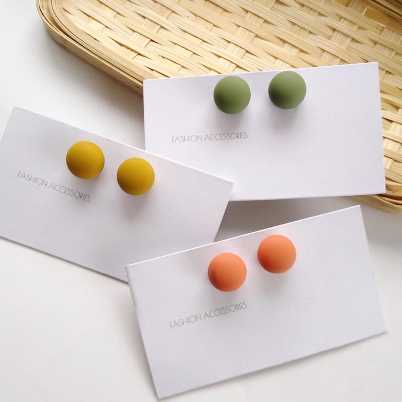 S925 needle Women Jewerly Cute Colorufl Ball stud Earrings Sweet Design Pink Yellow Green Round Bead Earrings Girl Female Gifts