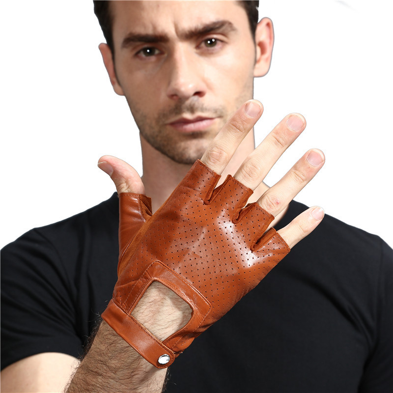 Мужские перчатки из овечьей кожи, полуперчатки для фитнеса, спортивные, дышащие, военные, тактические, велосипедные, мотоциклетные, кожаные ...