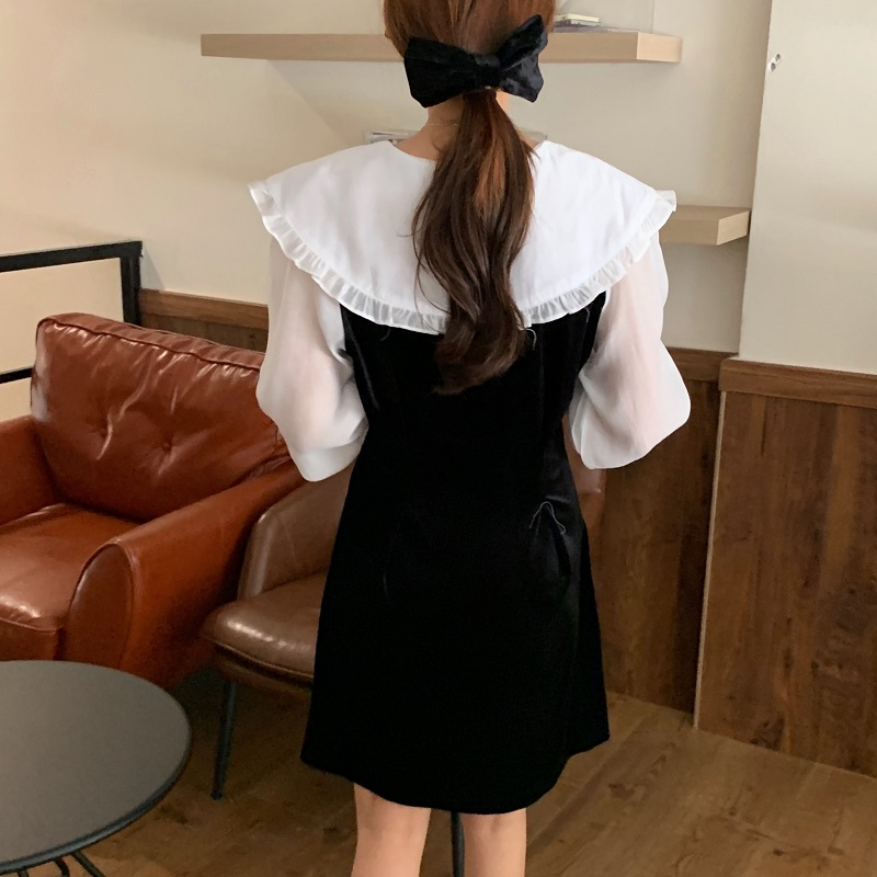 Hc104f7fc0e79475bb1ea90a712a12b082 - Autumn / Winter Puritan Collar Long Sleeves Velvet Stitching Dress
