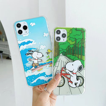 Cartoon Surfing puppy phone case For iphone 11 11pro max X XR XS MAX 7 8 Plus cute Charlie Brown soft cover For iphone 7 case