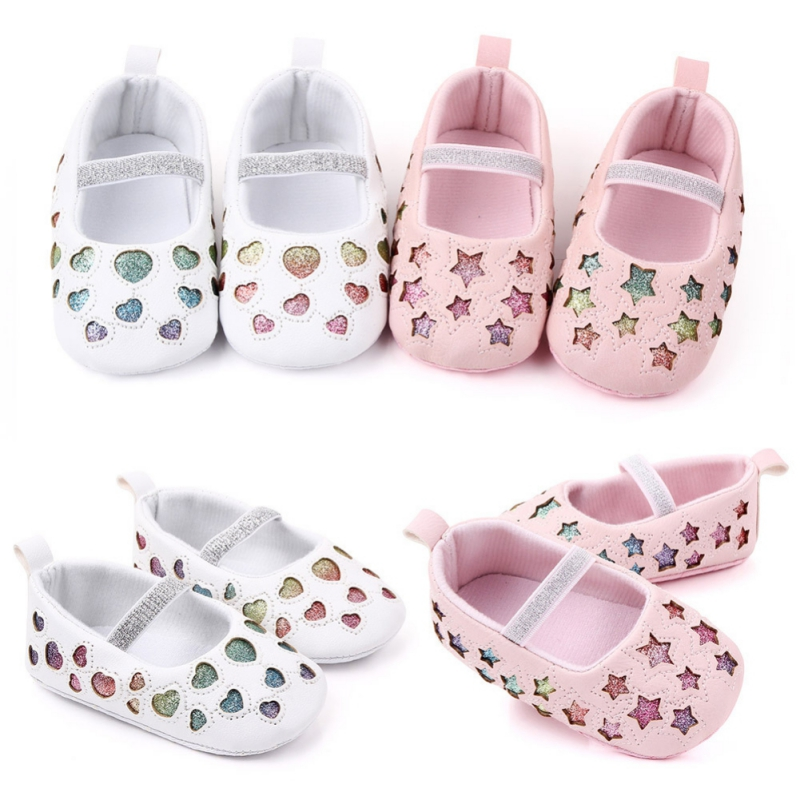 Baby Girls Shoes Star Heart Design Anti-Slip Toddler Soft Soled Casual Walking Shoes