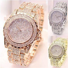 Nova moda de cristal aço completo relógios femininos relógio de pulso quartzo feminino relogio reloj hombre montre femme zegarek