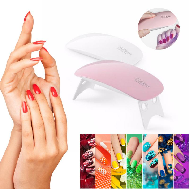 HOT!2color Portable 6W Nail Dryer Machine 6 LED UV Lamp Micro USB Cable Home Use Nail UV Gel Varnish Dryer Nail Art Tools 2