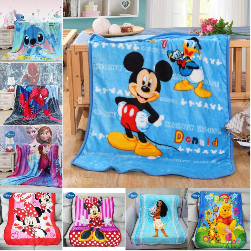 Disney Soft Coral Fleece Blanket Throw 100x140cm Mickey Minnie Mouse Stitch for Baby Girls Boys Kids Gift Bedroom on Bed Sofa