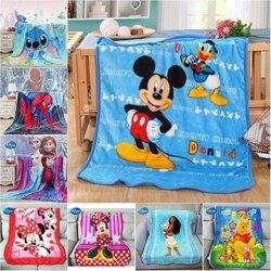 Disney macio coral velo cobertor lance 100x140cm mickey minnie mouse stitch para meninas do bebê meninos crianças presente quarto no sofá de cama