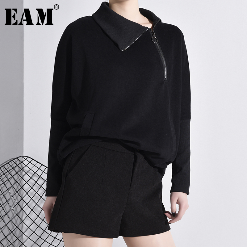 [EAM] Women Zipper Split Joint Contrast Color Black Big Size Loose T-shirt New Long Sleeve  Fashion Spring Autumn 2020 A251