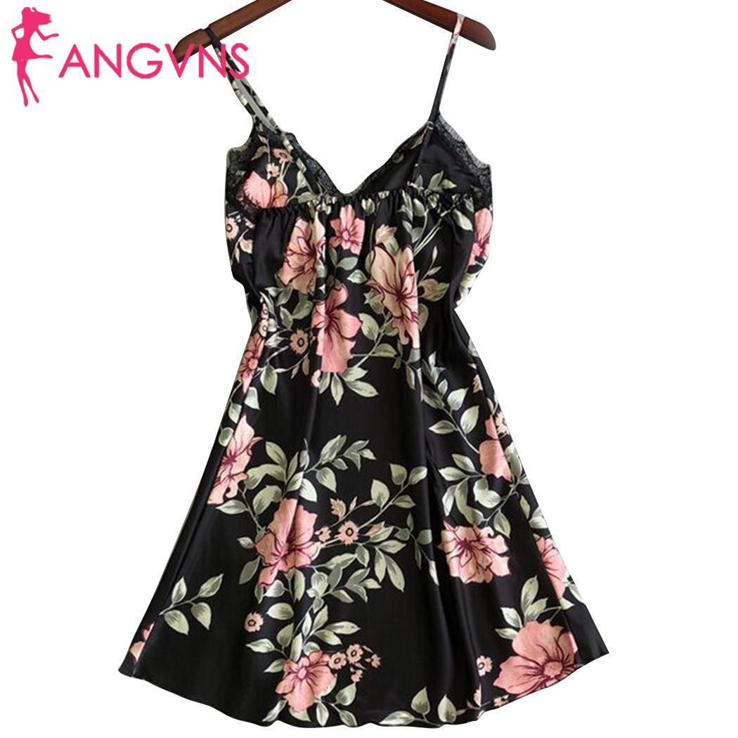 Women Sleepwear Spaghetti Strap Sleeveless Lace Brims Floral Nightdress Home, Spring, Summer, Autumn