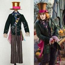 Джони Депп как Mad Hatter косплей костюм наряд Алиса в стране чудес куртка брюки Рождество Хэллоуин Карнавал взрослых мужчин размер