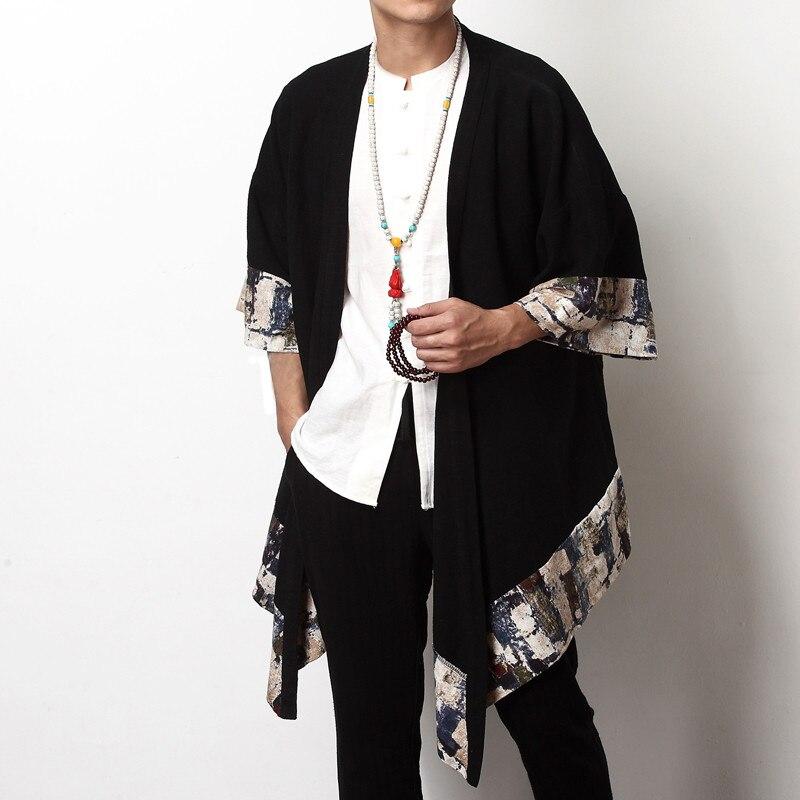 Hc1057f2977cb48f6b44bf20f8f71fd6bf 2019 Plus Size Fashion Men Long Outwear Shirts Half Sleeve Irregular Chinese Style Retro Male Cloak Coats Stylish Casual Trench