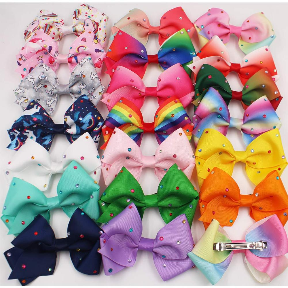Image 5 - 20PCS 5.5Inch Large Big Rainbow Hair Bows Clips Sparkly Glitter Rhinestones Hair Bows French Clips for Girls Women Lady-in Hair Accessories from Mother & Kids