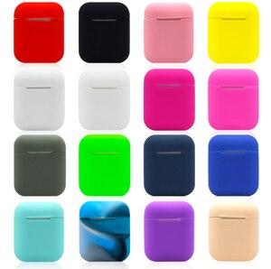 Image 1 - ソフトシリコンケースアップルの airpods ケース bluetooth ワイヤレスイヤホン保護カバーボックス用ポッド耳ポッドバッグ