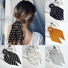 Senhoras franjas hairband polka dot flor impressão estiramento arco acessórios de cabelo menina hairband coreano doce corda de cabelo headdress
