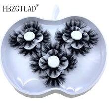 Hbzgtlad 9 pares 3d vison cílios 18-25mm cílios postiços volume dramático falsos cílios maquiagem cílios extensão de seda