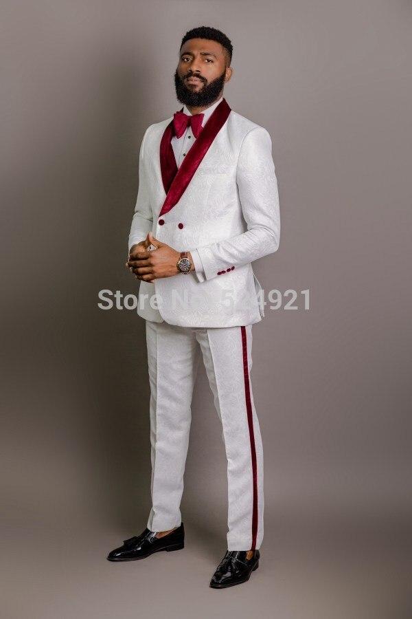 White Pattern Groomsmen Groom Tuxedos Shawl Dark Red Velvet Lapel Men Suits 2 Pieces Wedding Best Man ( Jacket+Pants+Tie ) C602