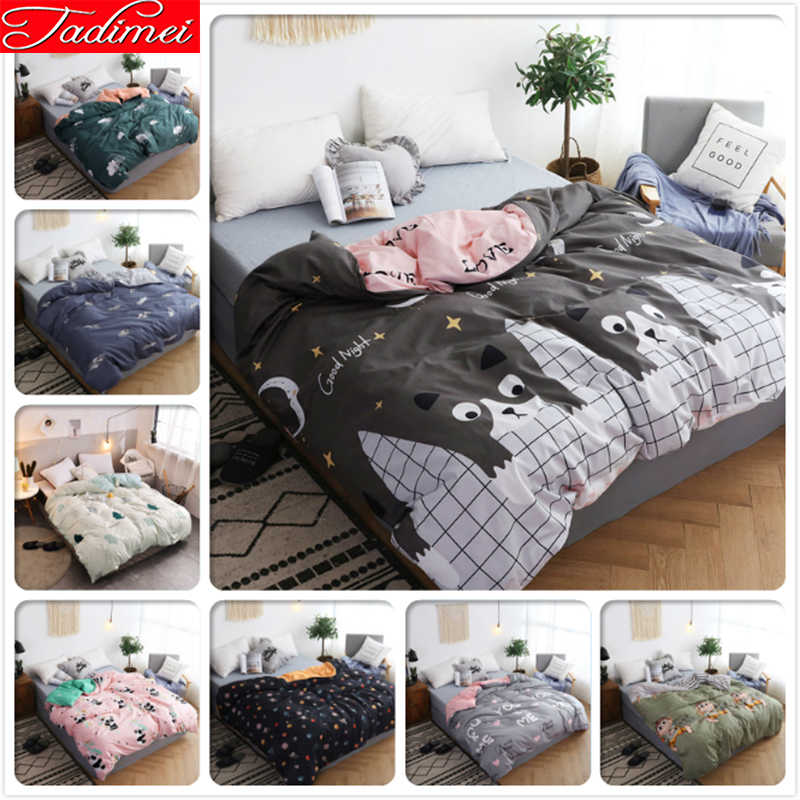 Cute Cat Kitty Pattern 1 piece Bed Duvet Cover Adult Kids Soft Cotton Bedspread Single Full Twin Queen King Size 150x200 180x220