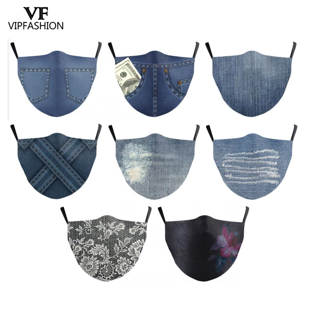 VIP FASHION Adult Denim Print Face Mask Adjustable Protective Anti Pollution Washable Fabric Face Mask Mouth-Muffle Reusable