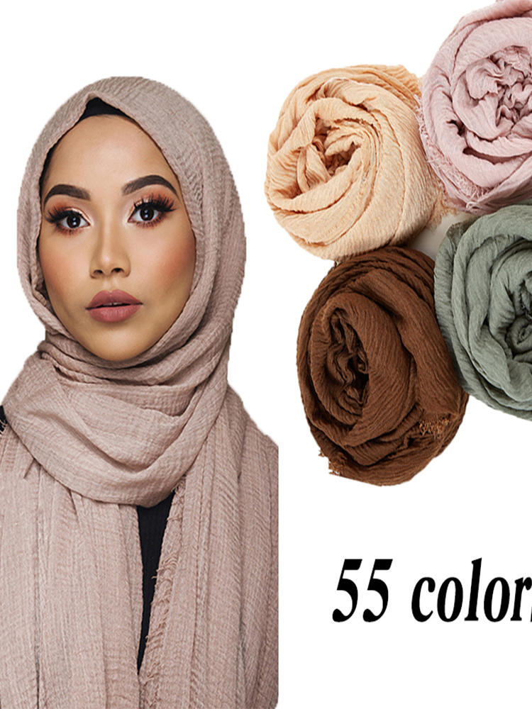 Shawls Hijab Scarf Wraps Crinkle Musulman Islamic Muslim Soft Wholesale-Price Women Cotton