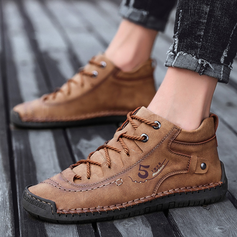 Mring Single Shoes Men's Shoes Hand-stitched Leather Shoes Casual And Comfortable Outdoor Shoes Breathable A Pedal Driving Shoes