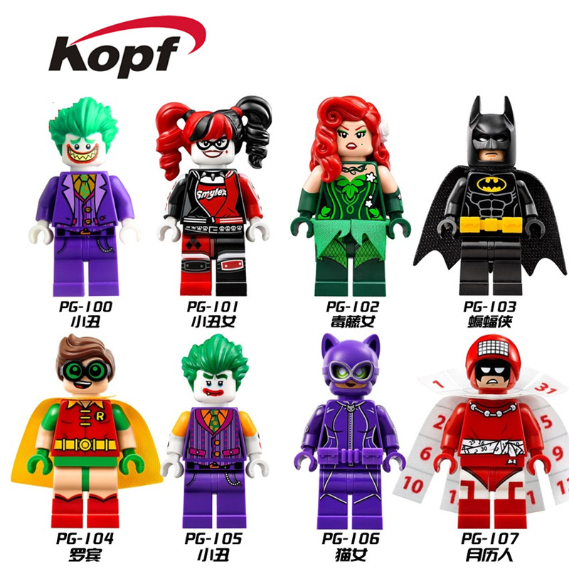 Building Blocks Super Heroes Harley Quinn Riddler Penguin Batman Commissioner Gorden Catwoman Bricks Figure Children Toys PG8032