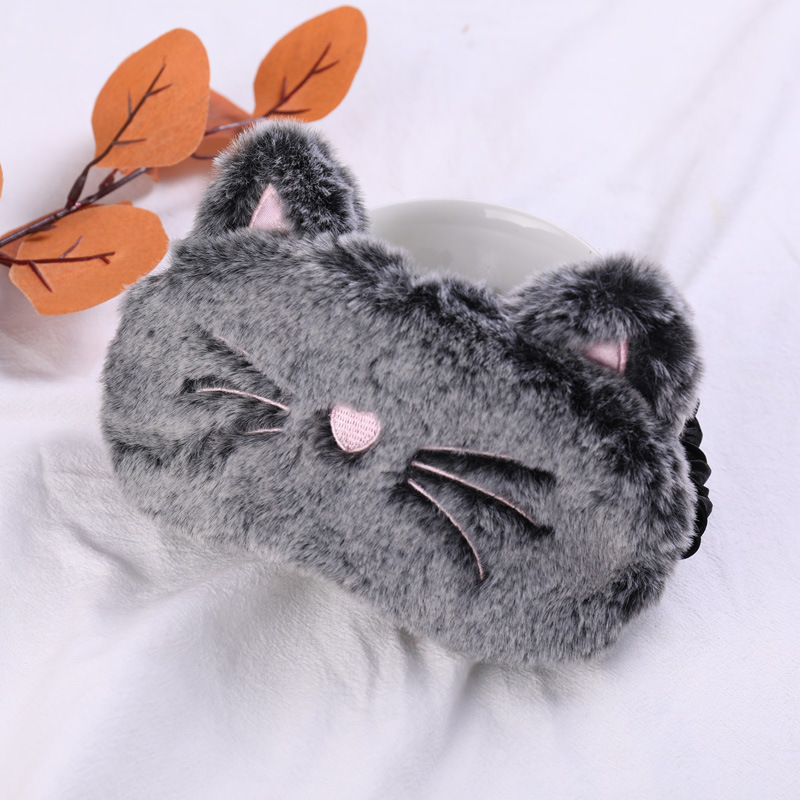 1pc Animal Cat Plush Sleeping Mask Cute Soft Plush Eye Eyeshade Relax Mask Suitable For Travel Home Party Gifts For Kid Adult
