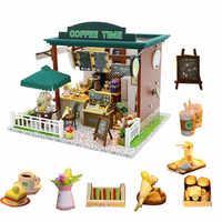 Juego de casa de muñecas de madera para niños, casa de muñecas de café, accesorios para casa de muñecas, poppenhuis, bouwpakke, diy, 1:24