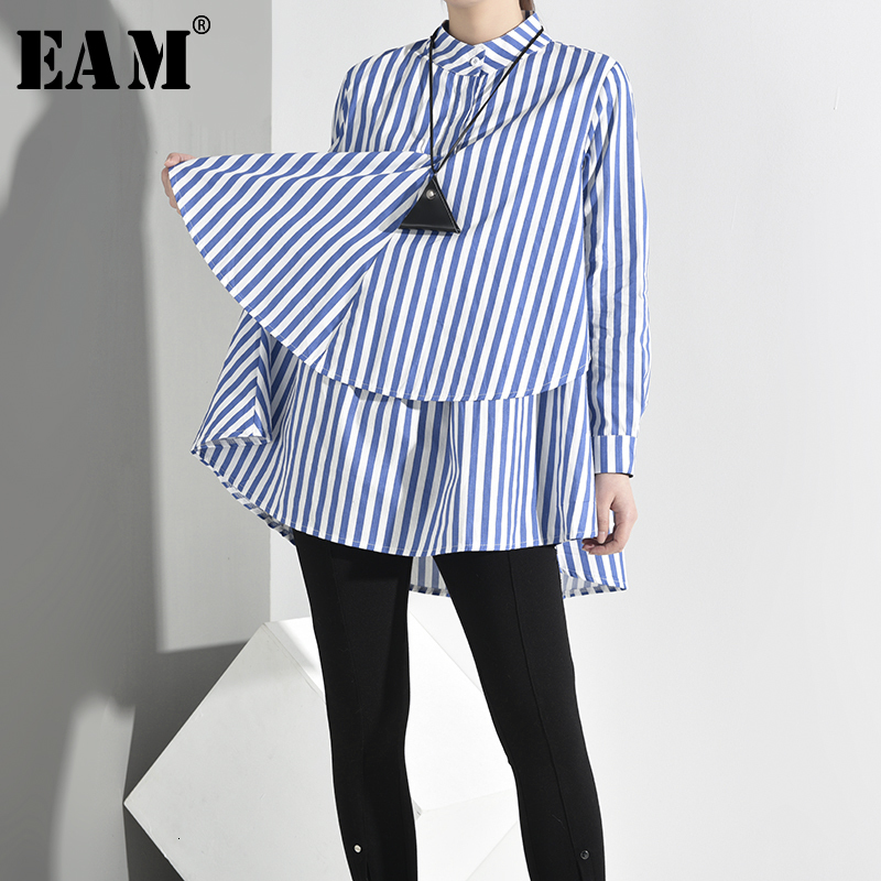 [EAM] Women Blue Striped Big Size Blouse New Stand Collar Long Sleeve Loose Fit Shirt Fashion Tide Spring Autumn 2020 YC20305