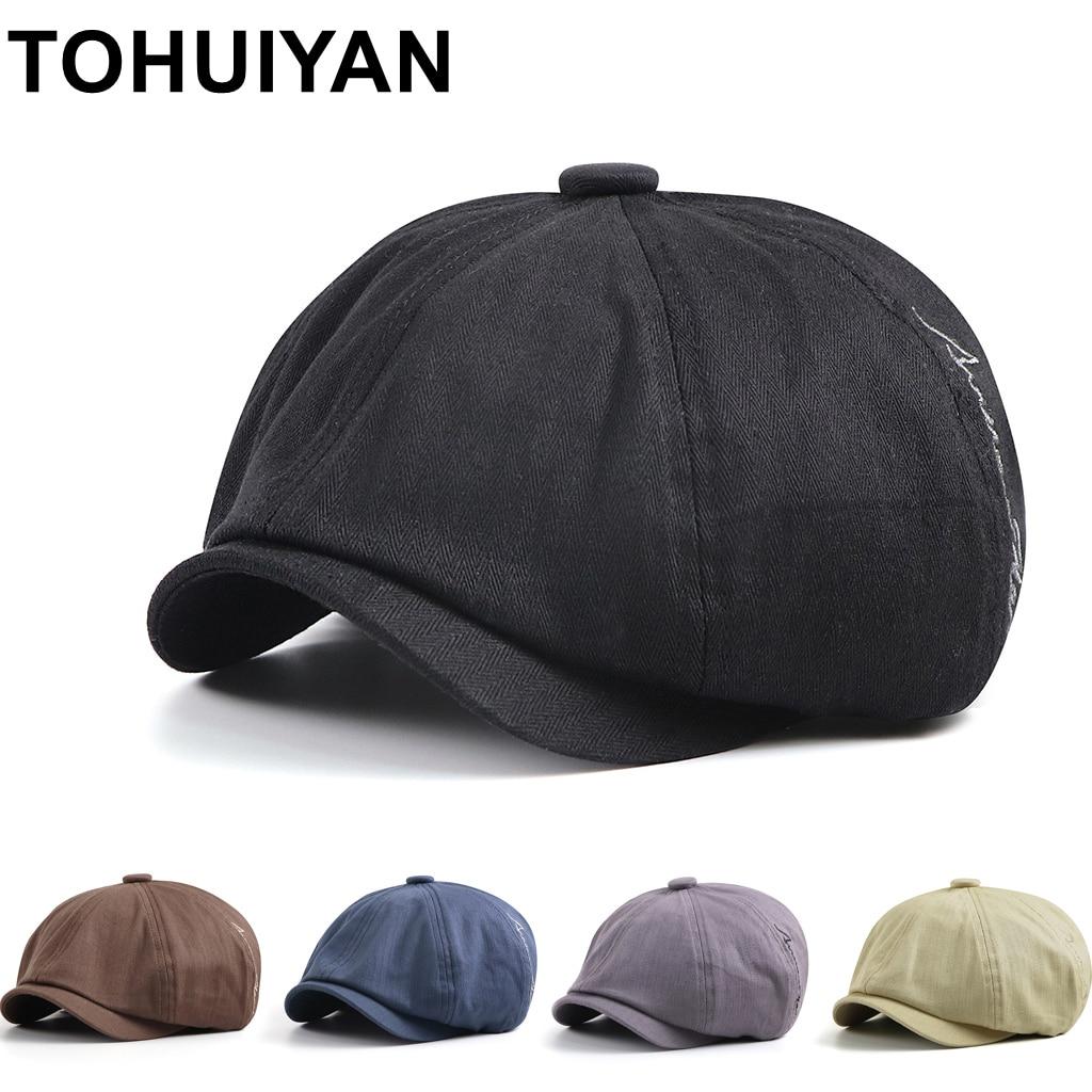 TOHUIYAN marque octogonale chapeau pour les femmes mode os Feminino béret chapeaux été automne décontracté casquette gavroche hommes artiste Gatsby casquettes|Casquettes gavroche homme|   - AliExpress