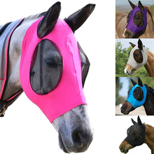 Mesh Breathable Horse Head Cover Anti-mosquito Mask Anti Fly with Ear Muff Horse Eyes Forehead Protection Sun Protective 5Colors
