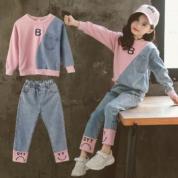 цена Children Clothing Set Hoodie Jeans Kids Tracksuit 2020 Spring Girls Costume Kids Sport Suits for Girls Clothes 6 8 10 12 Years онлайн в 2017 году