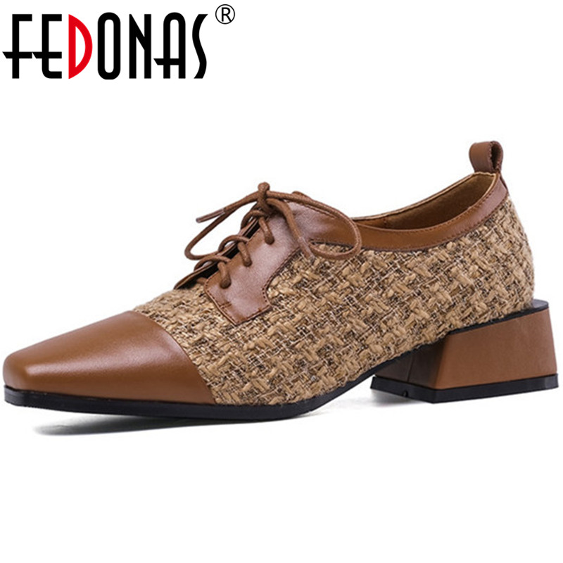 FEDONAS Cross-Tied Women Square Toe Shoes Butterfly Knot Shoes Thicks Heeled Retro Shoes Cloth Cow Leather 2020 Shoes Woman
