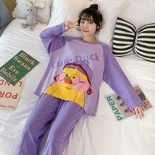 Женская одежда для сна хлопковые пижамы с рисунками из мультфильмов