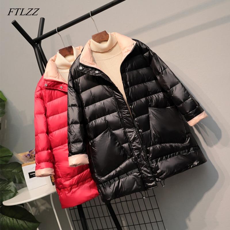 FTLZZ 2020 Ultra Light 90% White Duck   Down   Jacket New Winter Women Loose   Down     Coat   Parkas Female Warm Parkas Snow Outwear