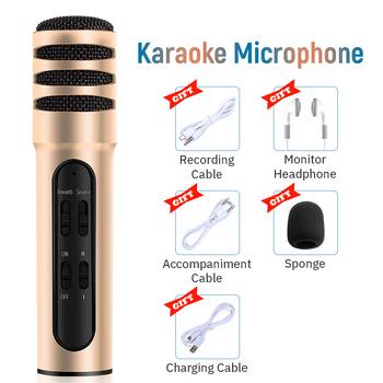 Ręczny mikrofon pojemnościowy mikrofon do Karaoke Studio zestawy ze słuchawkami profesjonalny mikrofon bezprzewodowy do nagrywania na żywo Youtube tanie i dobre opinie SZKOSTON Mikrofon ręczny Karaoke mikrofon Wielu Mikrofon Zestawy Dookólna wireless Karaoke Microphone Kits Black Gold Pink